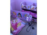 Disney princess children's wooden storage box , picture ,lamp, bedding
