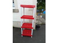 Red & White All Plastic Display/ Storage Shelf Unit 136cm H x 49cm W x 41 cm D