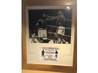 Duel Signed Ali v Frazier action shot & flight flyer framed and authenticated