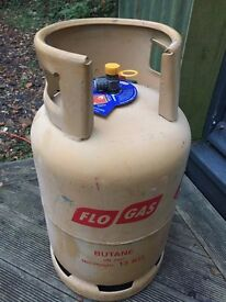 Gas bottle; Large Flo Butane Cylinder, full, 13kg, unused, near Axminster