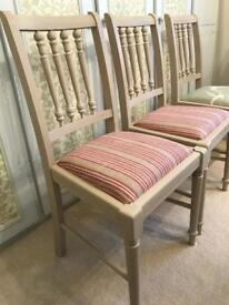 Lovely solid painted and upholstered wooden drop in dining chairs!