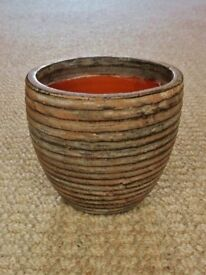 Brown Ribbed Textured Pottery Indoor Flower Plant Pot Planter Holder