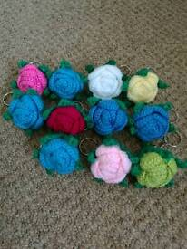 Crochet flowers keyring,£1 each