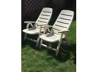 2 fold flat white garden chairs
