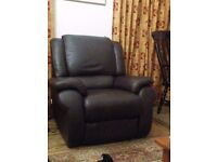 Laz-e-Boy brown leather recliner. Rarely used, immaculate condition. Buyer collects.