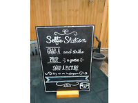 Chalk board Wedding Day Selfie station or rewrite your own message table decoration free standing