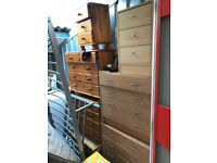 Contents of Unwanted Storage Unit including 6 Chests of drawers, 2 sofas, dishwasher & bed frame