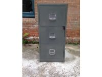 Vintage / industrial 1960s filing cabinet in rare grey / green colour