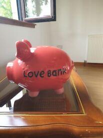 Portly pig, large piggy savings bank
