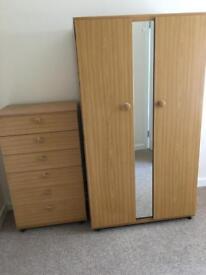 Schreiber 2 door wardrobe with mirror and matching 6 drawer unit.