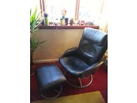 ex Ikea Leather swivel recliner chair with matching leather footrest NOW just £15