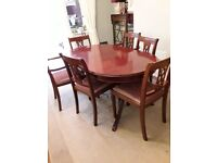 Extendable Dining Table and Chairs x 6 - Elegant Design