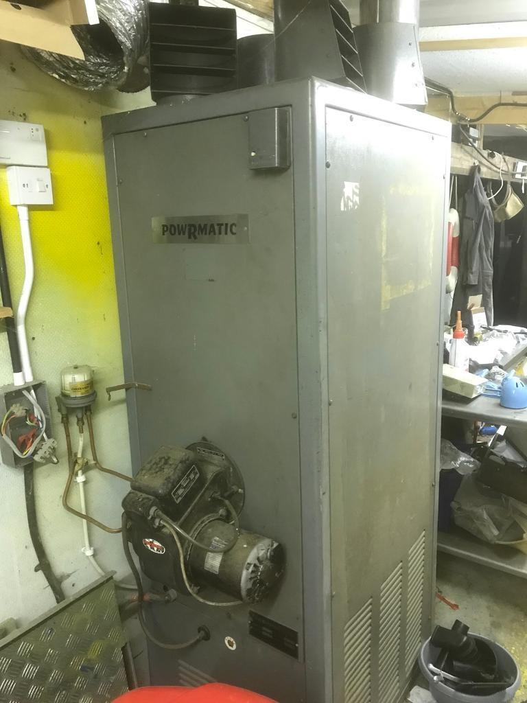 Powrmatic 200,000 BTU oil fired Workshop Cabinet Heater 240v. Space Heater. Needs slight work.
