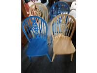 Four wheel back dinning chairs 1970s