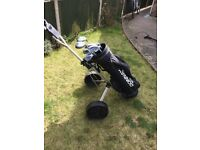Golfclubs, bag and trolley