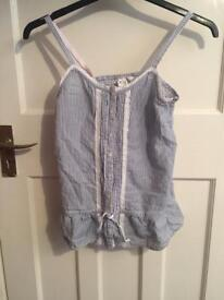 Girl's blue and white striped top (age 13-14)