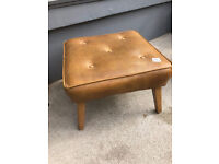 Retro Footstool on wooden legs , must be seen..... Size 19in x 19in Height 13in.