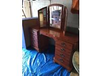 Solid Pine Ducal Dressing Table, Mirror and Stool