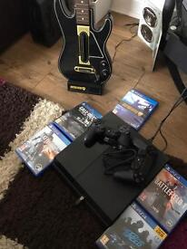 PS4, 5 games, 2 controllers, guitar hero controller