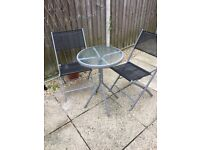 Bistro glass topped patio set