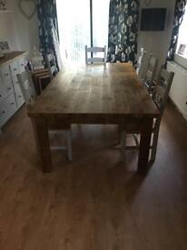 Solid farmhouse style wood table 8ftx4ft