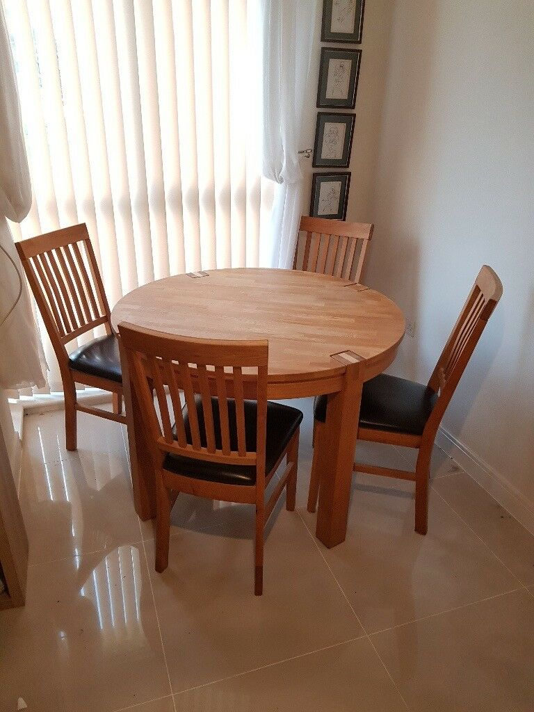 Park Furnishers - Round Solid Oak Dining Table And 4 Chairs