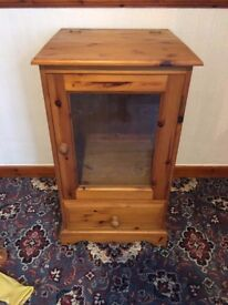 Solid Wood (Honey Pine) Glass Front Music Centre Cabinet