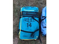 North Kitesurfing kit 14m,10m 5 line bar and lines, pump