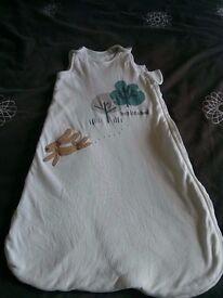 Pure Cotton Hopping Bunny Print 2.4 Tog Sleeping Bag, 0-6 months