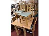 Table and 4 Pine Chairs