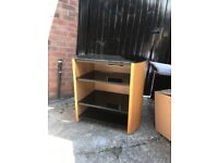 Television table with glass shelves