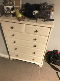 Solid wood white chest of draws