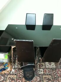 Black glass gloss dining table 6 chairs
