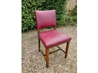 Old style red leather dining chairs set of 6.