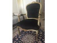 Two French baroque style lady chair with armrests gold/black