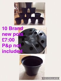 10 x brand new plant pots