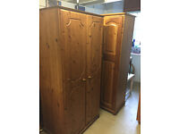 Double Pine Wardrobe , with double hanging space . Good quality with wood back .