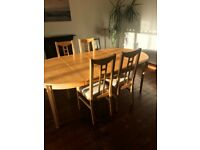 Dining Table and Six Chairs, Extendable, Sold Birch