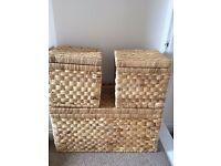 Rattan Storage boxes/ wardrobe organisers with lid - 3 piece set - £30 ONO