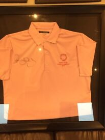 Signed and framed golf polo shirts