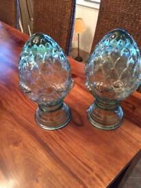 Pair large glass artichokes. Unique pieces 29cm tall