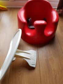 Red Bumbo Seat with Straps & Tray