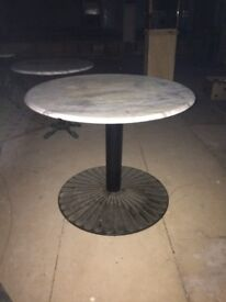 Marble table top with cast iron base - excellent condition!
