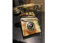 Antique Italian onyx rotary dial telephone