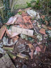 Mixed broken concrete and brick rubble free