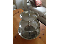 Three-tier hammered-metal cake stand/serving tray
