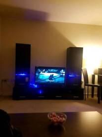 Black Gloss LED Tv Entertainment Unit