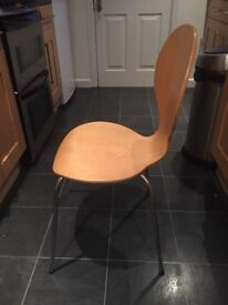 X4 wooden chairs with silver legs