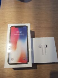 Iphone x 64g brand new with air pods o2 only today!
