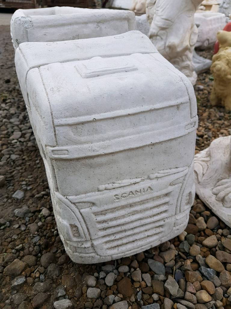 Concrete Scania Wagon and Trailer planter garden ornament